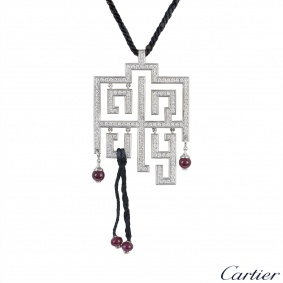 Cartier White Gold Diamond Le Basier Du Dragon Pendant